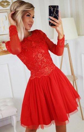 Czerwona sukienka z tiulową spódnicą 2194-02