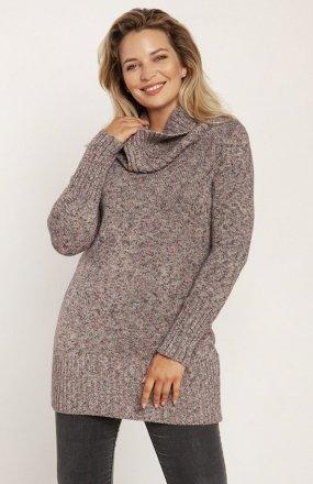 MKM SWE252 długi sweter z golfem różowy