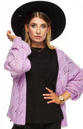 Krótki niezapinany sweter lila OH510