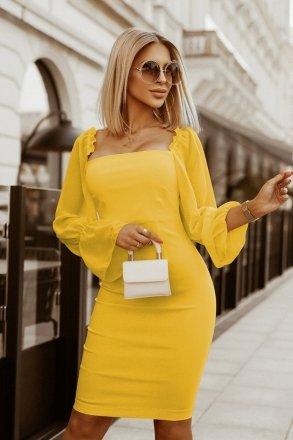 Kobieca dopasowana sukienka żółta 2224-09