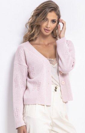 Krótki sweterek pudrowy róż F767