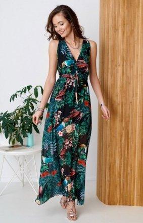 Długa sukienka w kwiatowy print 0287/R91