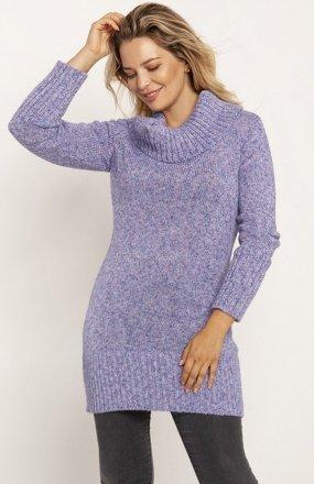 MKM SWE252 długi sweter z golfem niebieski