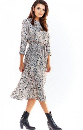 Sukienka midi w szary wzór Awama A313