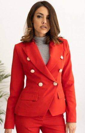Dwurzędowy krótki żakiet damski czerwony Z415