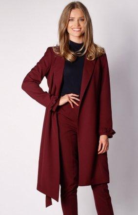 Wiązany asymetryczny płaszcz bordowy NA035LP