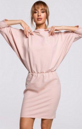 Dzianinowa sukienka z lampasami cukierkowy róż M495