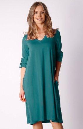Oversizowa sukienka z kieszeniemi zielona NA031LP