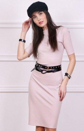 Sukienka z półgolfem różowa Roco 0235