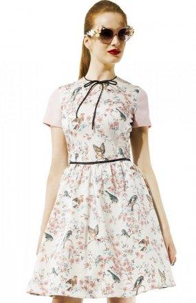 Kasia Miciak design amore rozkloszowana sukienka w ptaszki