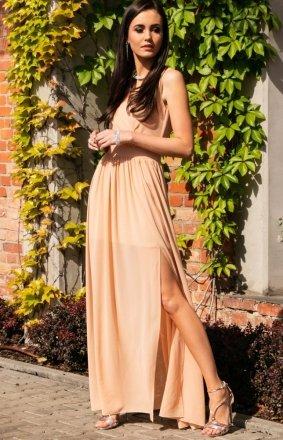 *Elegancka szyfonowa sukienka beżowa 0213