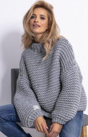 Ciepły sweter alpaka szary F790