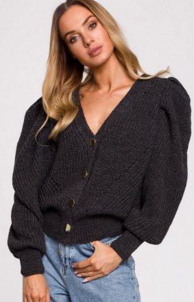 Krótki sweter z bufkami grafitowy M629