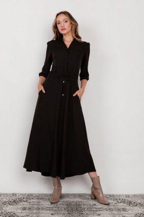 Długa sukienka z rękawem 3/4 i troczkiem czarna SUK205
