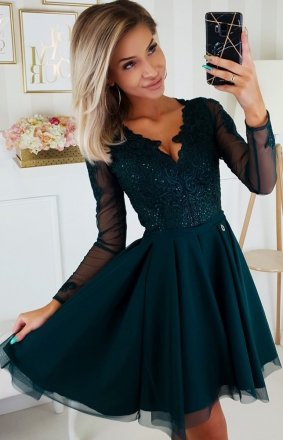 Zielona sukienka wieczorowa z tiulem 2160-13