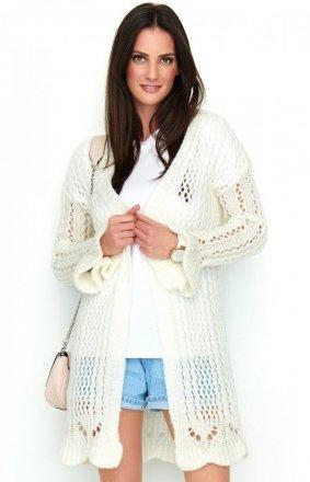 Ażurowy biały sweter S49