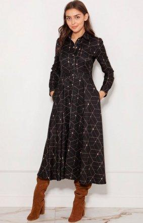 Koszulowa sukienka maxi wzorzysta SUK190