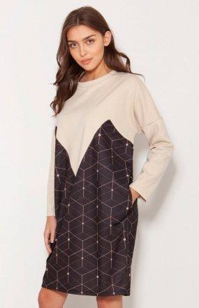Oversizowa sukienka w typie bluzy wzór SUK191