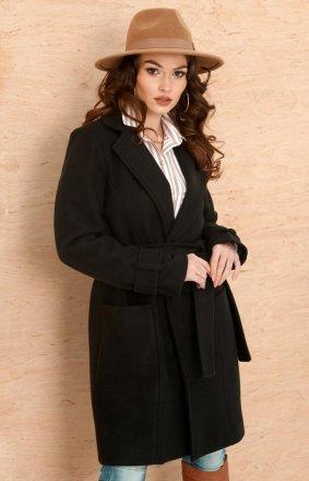 Wiązany płaszcz damski czarny 0019