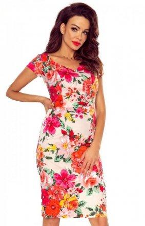 Ołówkowa koktajlowa sukienka w kwiaty