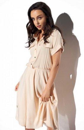 Koszulowa sukienka beżowa L331