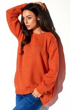 *Oversizowy rudy sweter LS275