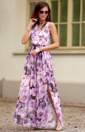 Szyfonowa długa sukienka letnia kolorowa 0209 R57