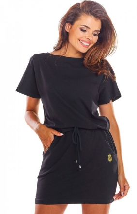 Sportowa sukienka z wiązaniem czarna M207