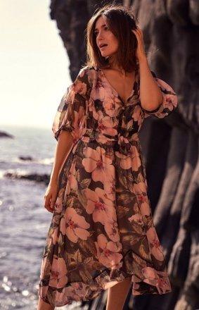 Szyfonowa sukienka w kwiaty S226/3