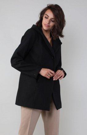 Czarny płaszcz z kapturem NA185LP