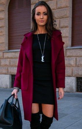 Elegancki płaszcz alpaka bordowy P011
