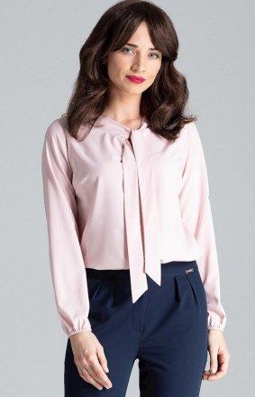 Bluzka różowa z krawatką L030