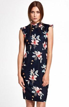 Nife S108 sukienka granatowa w kwiaty