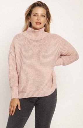 MKM SWE246 żebrowany sweter z golfem różowy