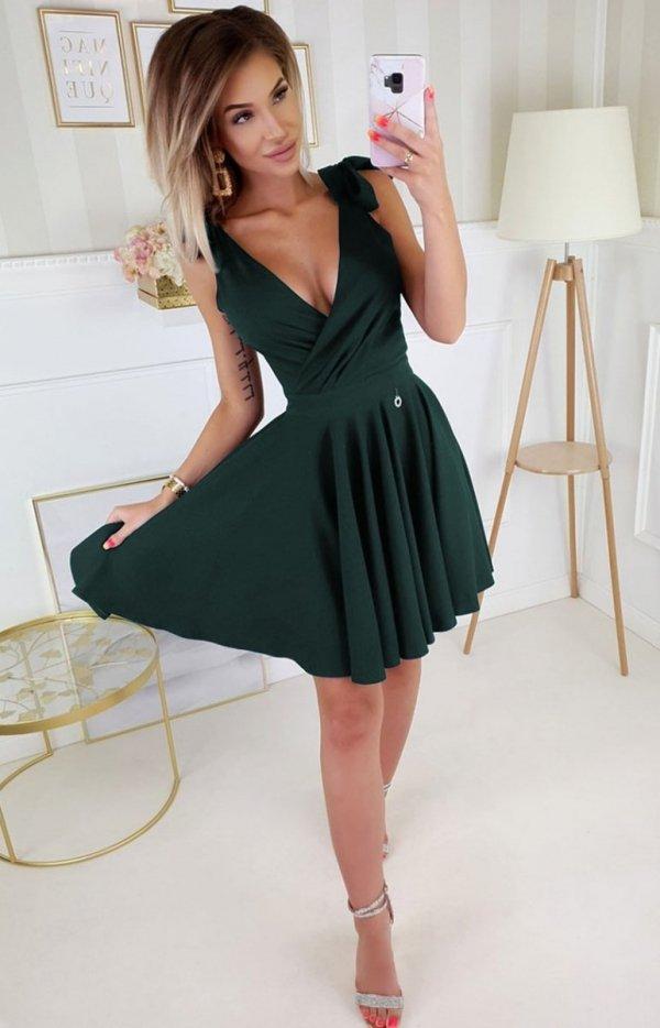 Wizytowa sukienka z kokardkami butelkowa 2209-13-1