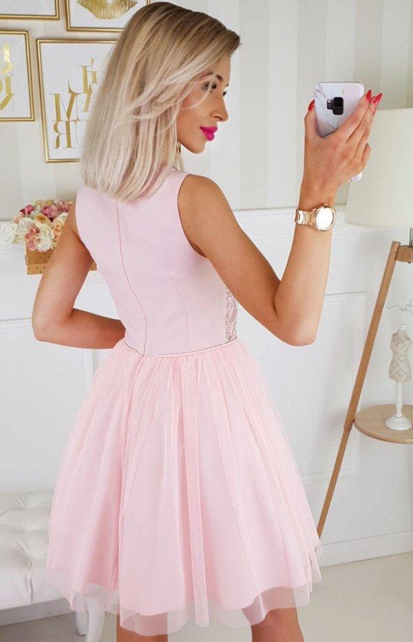 Bicotone sukienka z koronką pudrowy róż 2179-12 tył