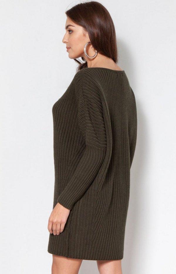 Oversizowy sweter damski khaki SWE135 tył