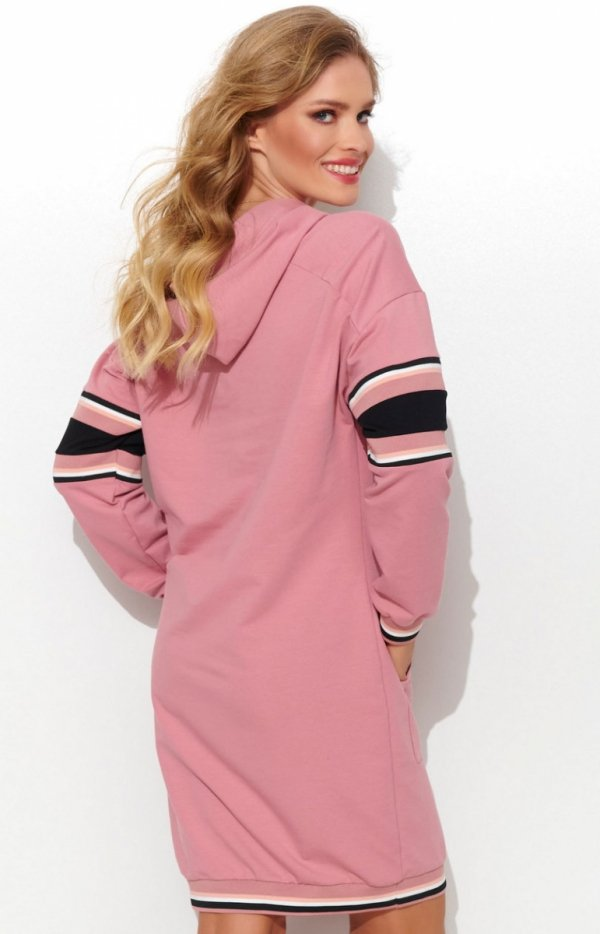 Sportowa sukienka z kapturem różowa NU280 tył