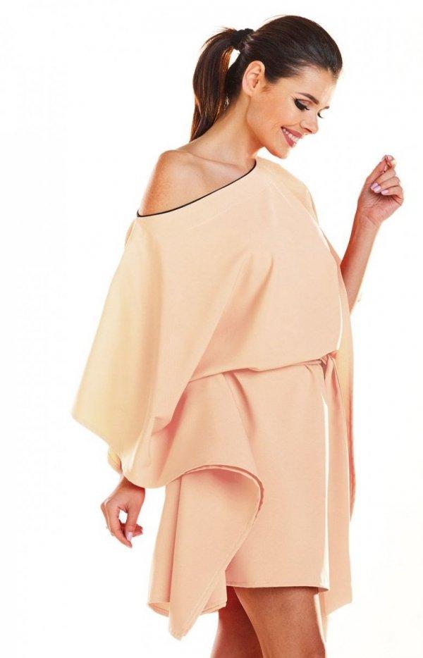 Kimonowa beżowa sukienka M196_1
