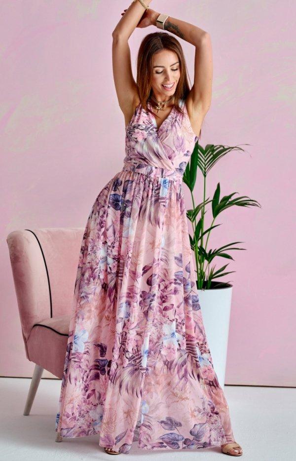 Szyfonowa długa sukienka letnia kolorowa 0209 U66
