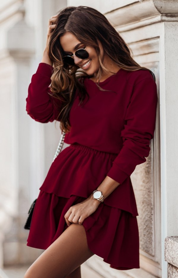 Dresowa spódniczka i bluza Larisa bordowa