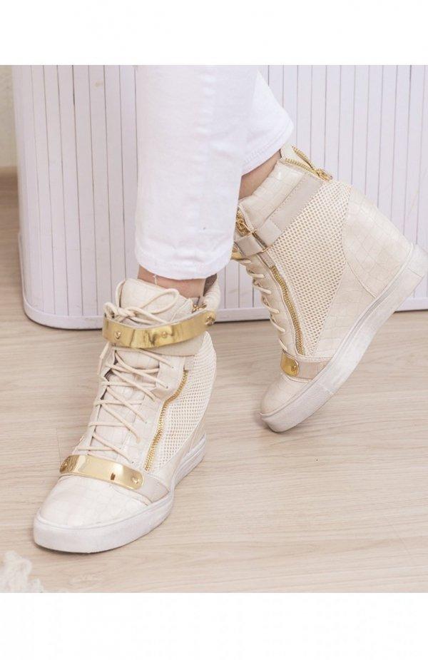 Beżowe sneakersy złote blaszki