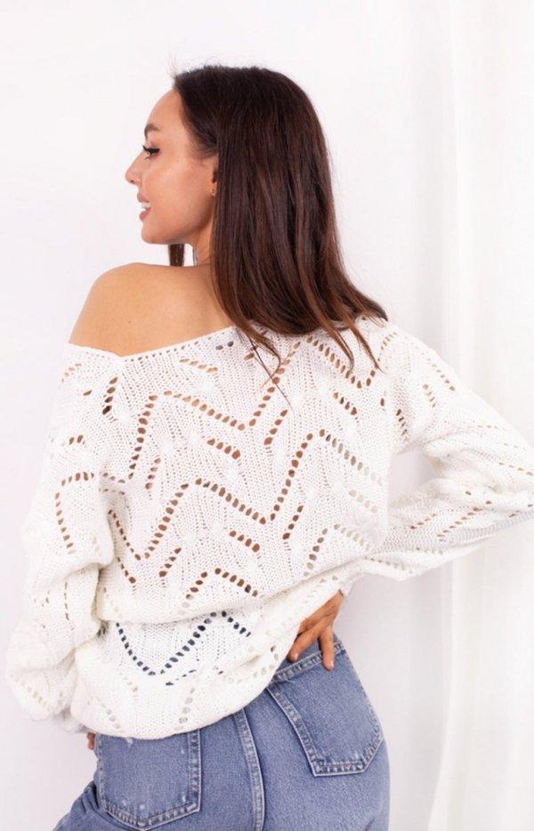 Ażurowy sweterek ecru LS319 tył