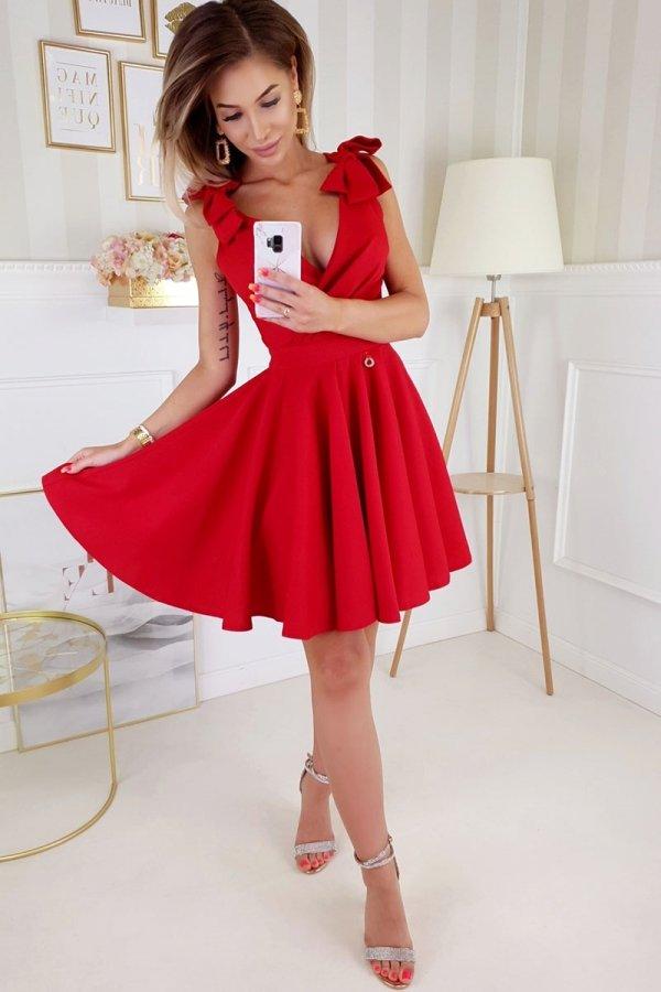 Wizytowa sukienka z kokardkami  czerwona 2209-02-1