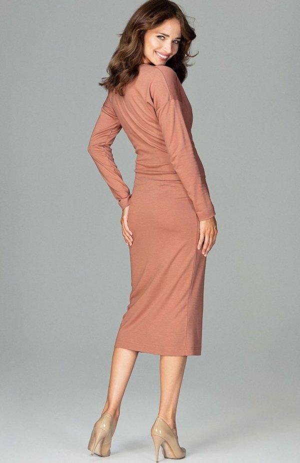 Lenitif K477 sukienka brązowa tył