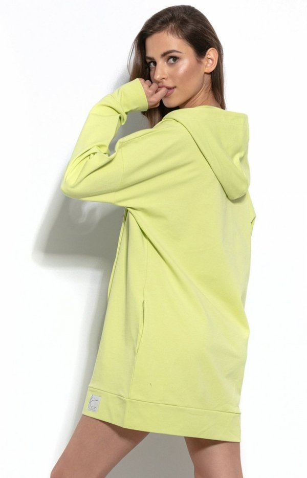 Długa bluza z kapturem limonka F931 tył