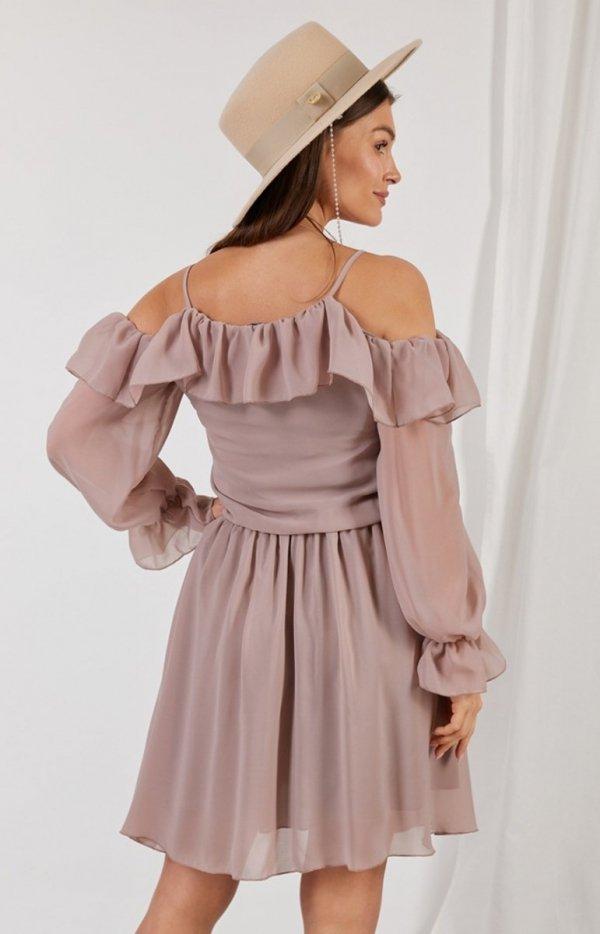 Zwiewna sukienka z falbanami cappucino L329 tył