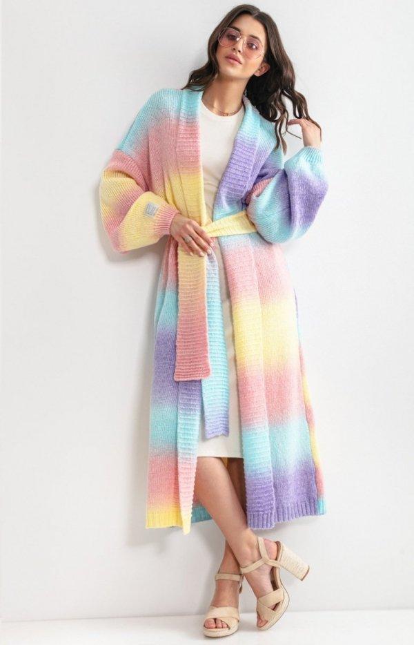 Długi kardigan multicolor elnindo z wełną F1160