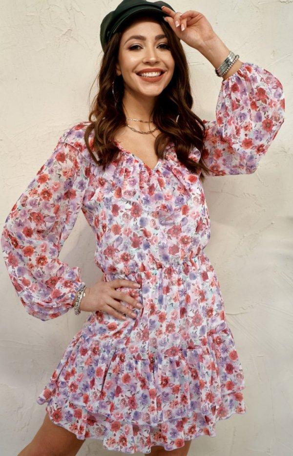 Szyfonowa sukienka w kwiaty 0324/U28-1