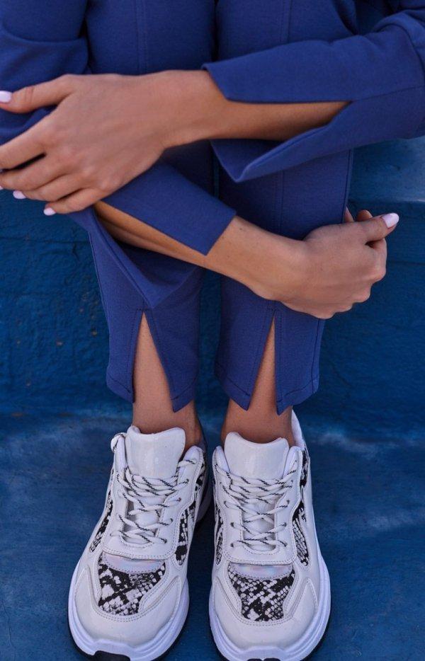 Dresowe spodnie z rozporkami indygo M493-2